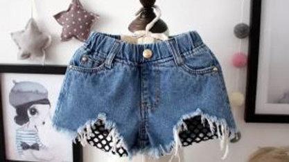 Denim worn loose burr hole jeans shorts