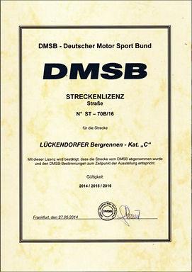 """DMSB Streckenlizenz """"LÜCKENDORFER Bergrennen"""""""