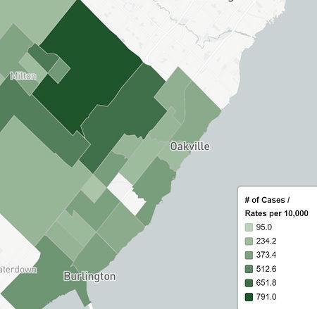 Feb 28 Oakville Neighbourhood Covid Map