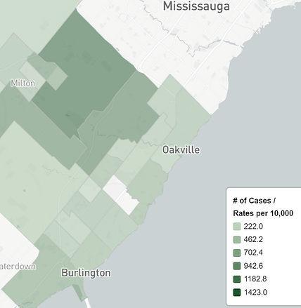 May 8 Oakville Neighbourhood Covid Map 2