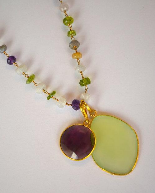 Multi color semi precious stone chain w/ pendants