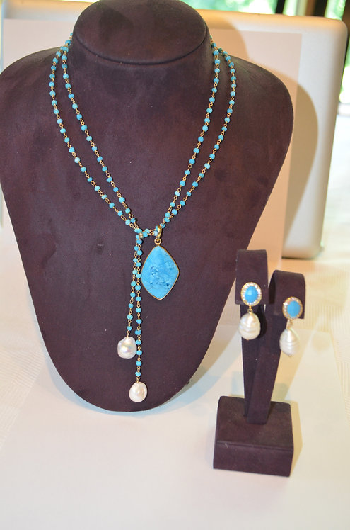 Turquoise and  fresh water pearls