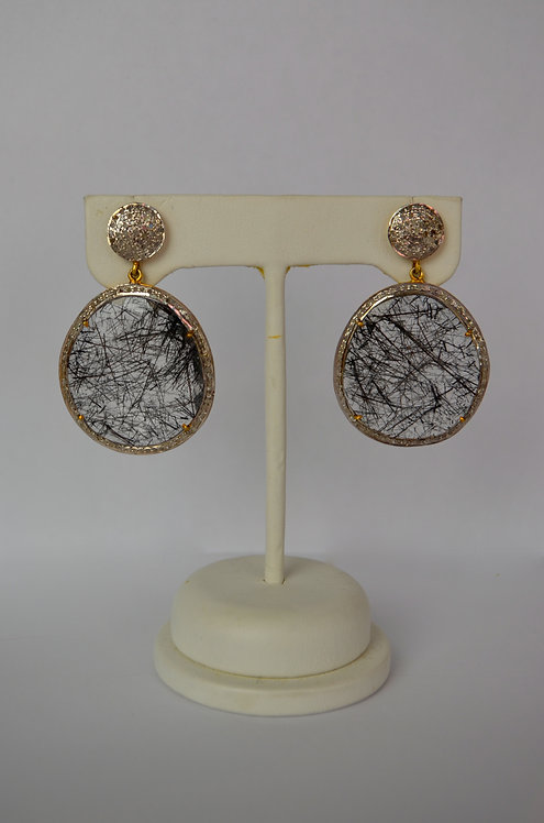 Black Rutilated Quartz Diamond Earrings...SOLD