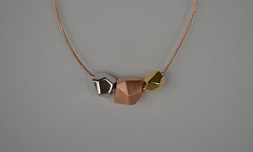 Tri-Tone Geometric Necklace