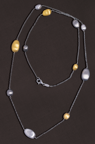 Tri-Toned Matte-Finish Bean Station Necklace..SOLD