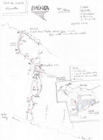 Calanque de Cap de Long, secteur Dharamsala, Voie América  TD+ 180m