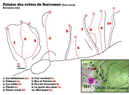Baronnies: Topo de la falaise de Sarramer, col de l'Oueil Lusent