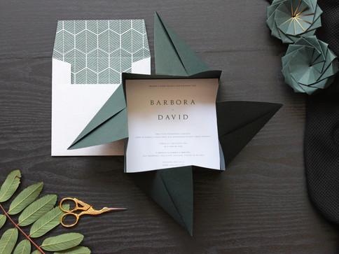 Dark Green Origami Invite [4].JPG