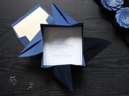 Navy Blue & Gold Origami Wedding Invite