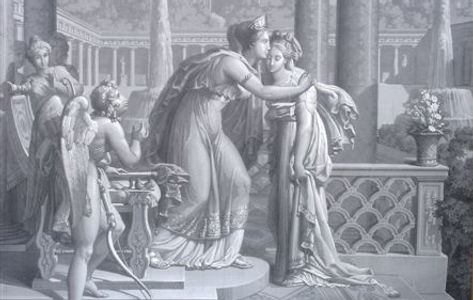 Complete work with 12 grisaille-paintings, telling the story of Cupid and Psyche, that has been created by the famous Parisian manufacture of Joseph Dufour in 1815.
