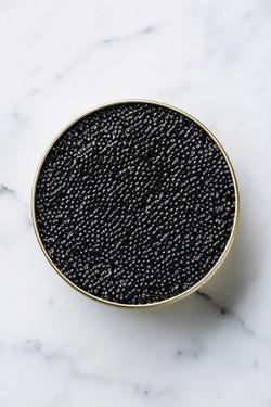 Sturgeon black caviar in can on white ma