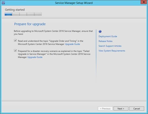 SCSM 2016 Upgrade - Confirm Upgrade