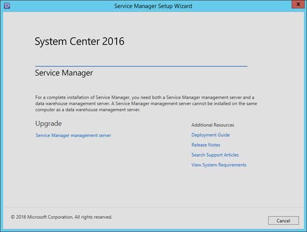 SCSM 2016 Install/Upgrade - Start SCSM Installer