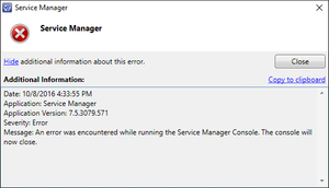SCSM Upgraded - An error was encountered while running the Service Manager Console. The console will now close.