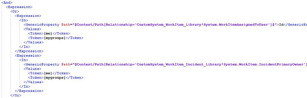 SCSM View XML Tokens