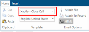 Xapity Mail - Select SCSM Template