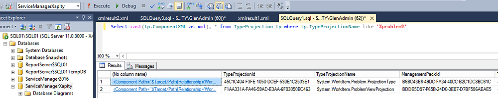 Query SCSM Type Prjections using SQL
