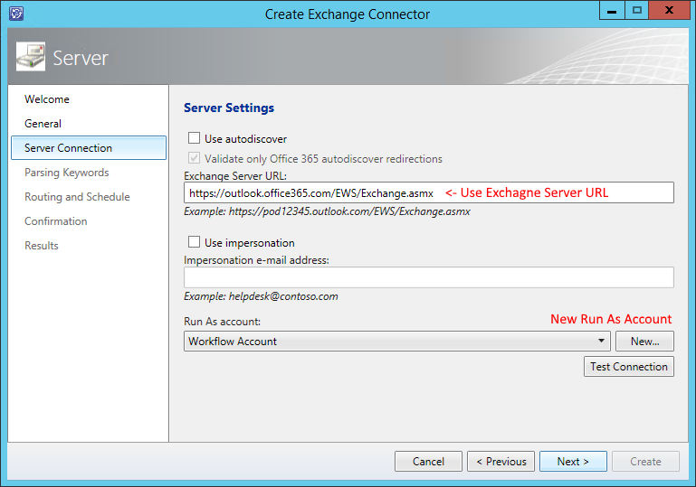 SCSM Exchange Connector Offeice 365 Run As Account Exchange URL