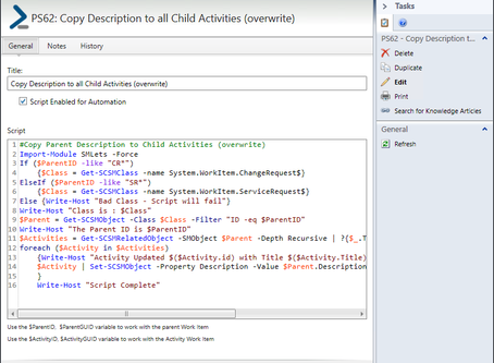 PowerShell for SCSM: Copy Parent Description to Child Activities