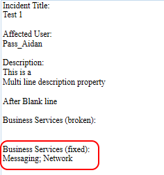 SCSM 2016 Business Service in Incident Notification Template