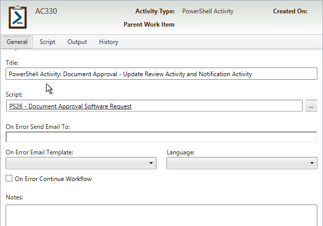 SCSM PowerShell Activity Options