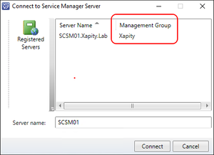 SCSM Connect to Management Server dialog shows Management Groups Name