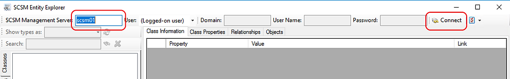 Connect to SCSM Entity Explorer