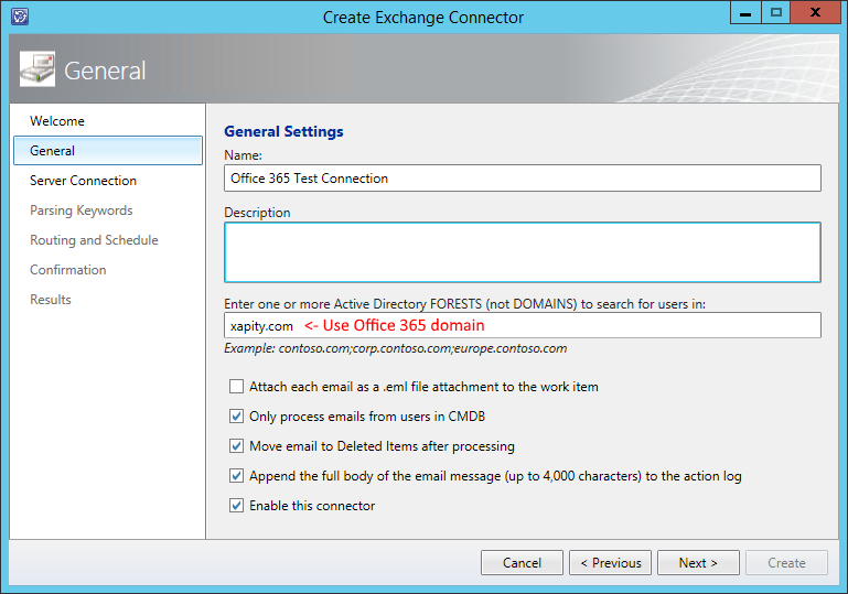 SCSM Exchange Connector Office 365 Active Directory Forrest