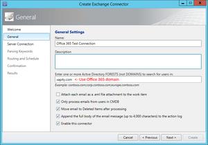 SCSM Exchange Connector Office 365 Active Directory Forrest
