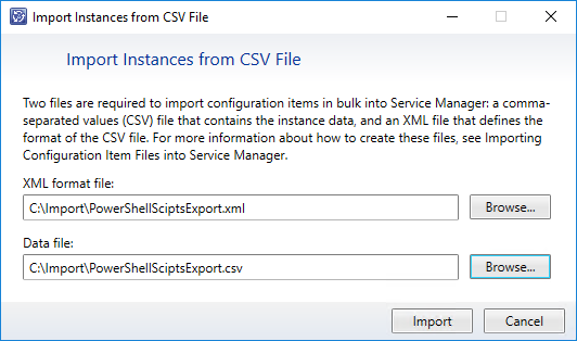 Import Connector. Import a Xapity PowerShell Activity Script library