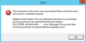 SCSM Exchange Connector Account Error
