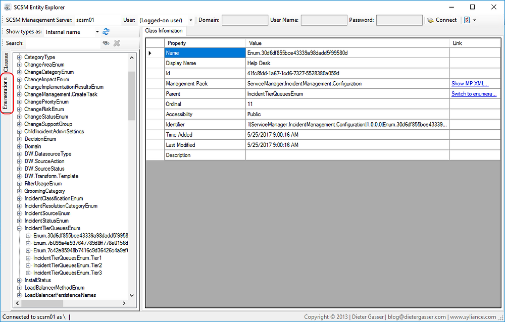 Enumerations in SCSM Entity Explorer