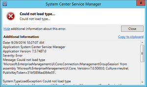 SCSM 2016 Upgrade - Could not load type...