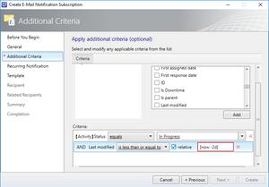 SCSM Subscription [now] Token on Periodic Criteria