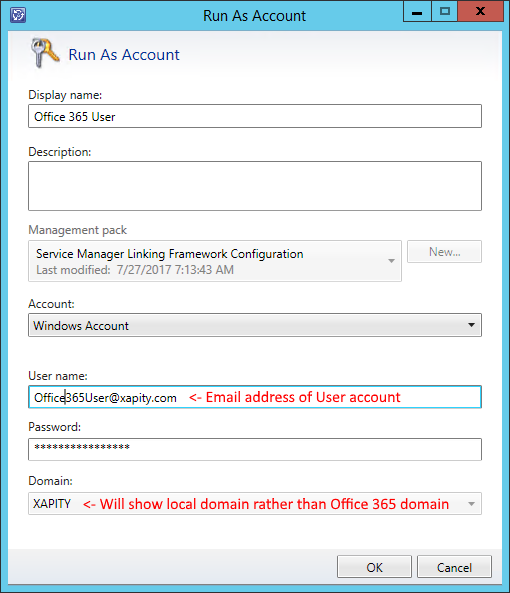 SCSM Exchange Connector Office 365 Run As Credentials