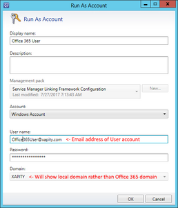 SCSM Exchange Connector Office 365 Run As Credentials
