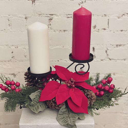 2 Candle Christmas Centre Piece