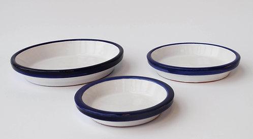 Onderschotel voor bloempotten in wit en blauw
