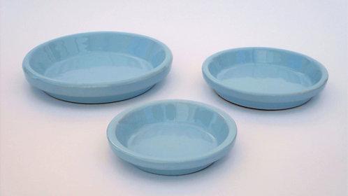 Pastel blauwe onderschotel voor bloempotten