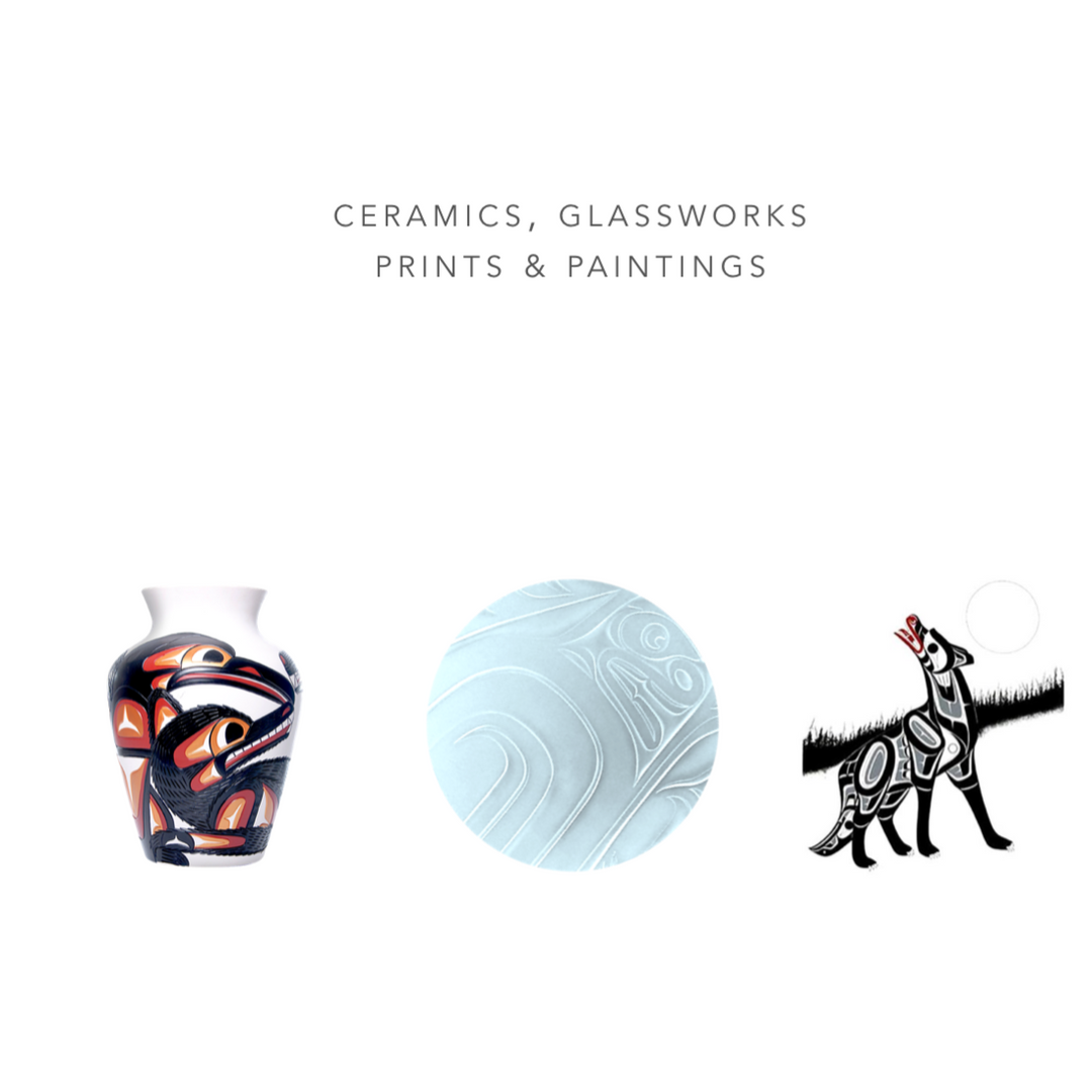 West Coast First Nations Ceramics, Glassworks, Prints, Paintings