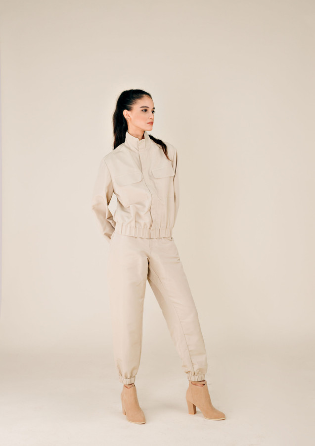 Beige Jacket and Jogger Protective Wear