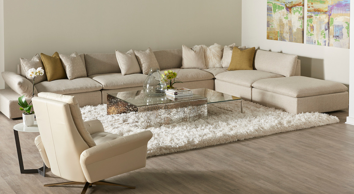 Versa Sectional & Pileus Chair by American Leather