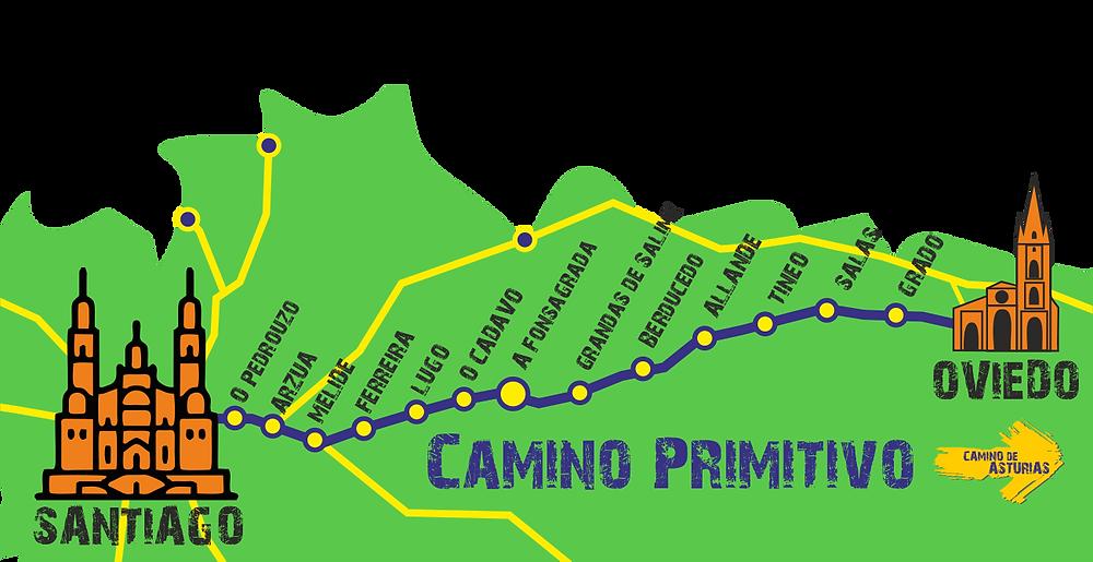 mapa camino primitivo