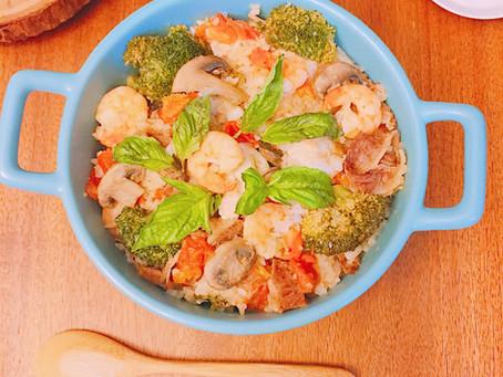 電鍋懶人料理:一鍋到底豪華番茄海鮮飯
