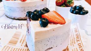 [無糖、純素、無麩質、免烤箱|草莓+藍莓腰果起司蛋糕]