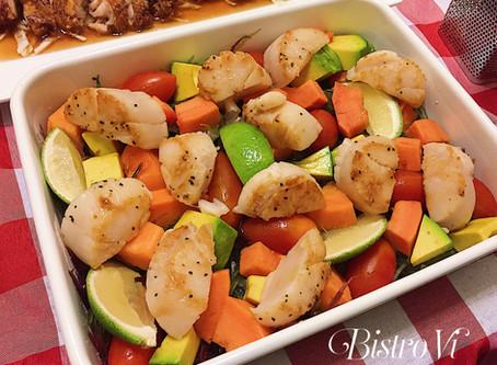簡易快速華麗前菜- 嫩煎干貝繽紛水果海藻沙拉