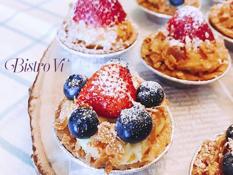 藍莓杏仁餡+香草卡士達醬|華麗多層次草莓/水果小塔