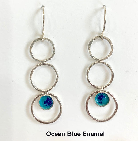 SterlingTri-Hoop Earrings with Stone Choice
