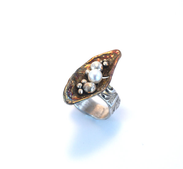 """Sunken Treasure"" -Sterling & Shibuichi Ring"