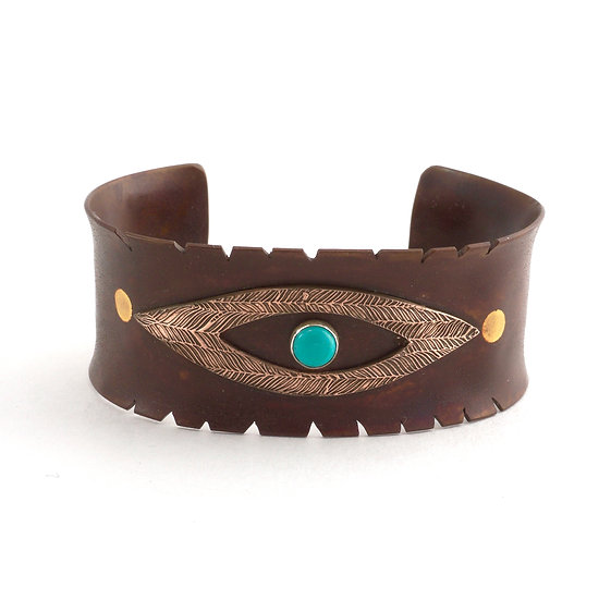 Turquoise Feather Cuff